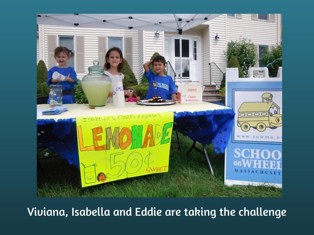 lemonade stand for 100 Families Challenge - SOWMA